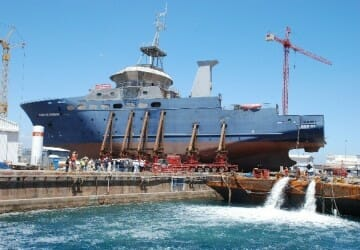 Refloating of brand new research vessel Cabo de Hornos, Talcahuano, Chile