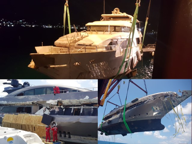 Salvage of tree luxury Yachts at St Martin, Caribbean.